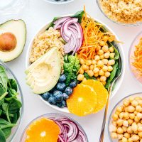Buddha bowl recipe with fruits and veggies in a bowl