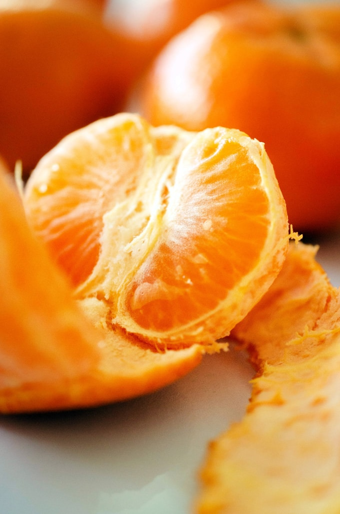 Close-up photo of a mandarin orange peeled.