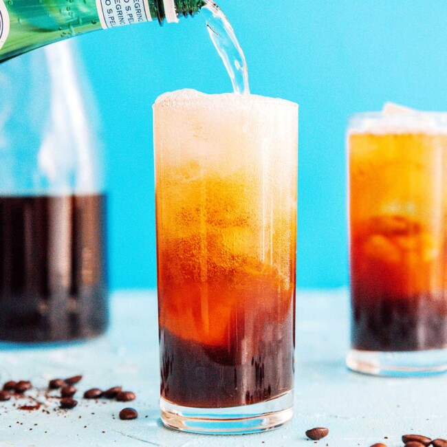 Fizzy cold brew coffee in a glass