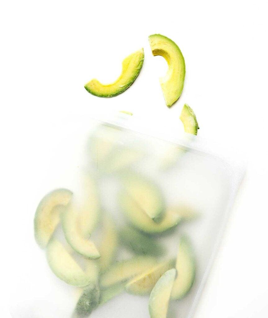 Avocados in a freezer safe bag