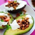 Roasted Chickpea Stuffed Avocados