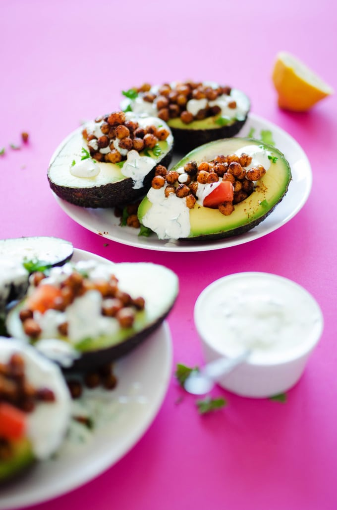 Roasted Chickpea Stuffed Avocados