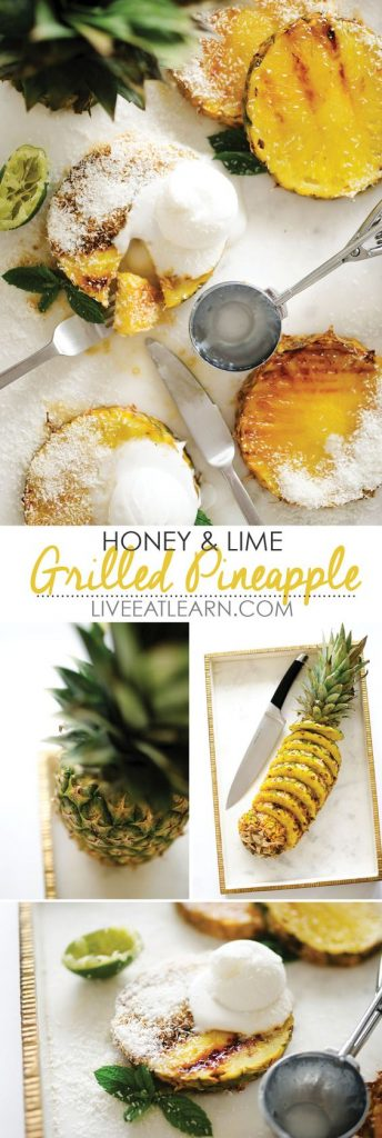 This Honey and Lime Grilled Pineapple comes together in just minutes and is an instant, healthy taste of the tropics.