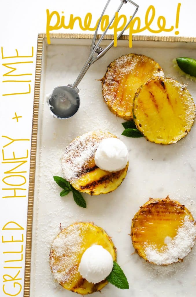 This Honey and Lime Grilled Pineapple comes together in just minutes and is healthy taste of the tropics (especially topped with coconut ice cream!)