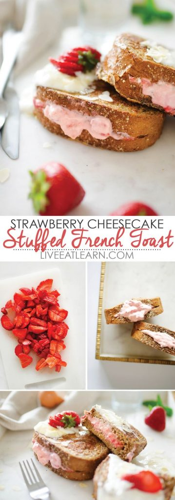 This Strawberry Cheesecake Stuffed French Toast recipe is healthy, easy, and SO tasty! Perfect for a weekend family breakfast treat, and totally flexible. Use any berries you happen to have!
