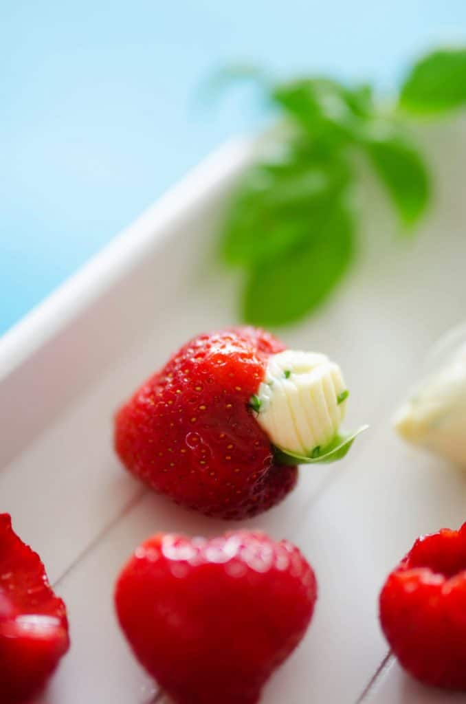 Herby Whipped Brie Stuffed Strawberries