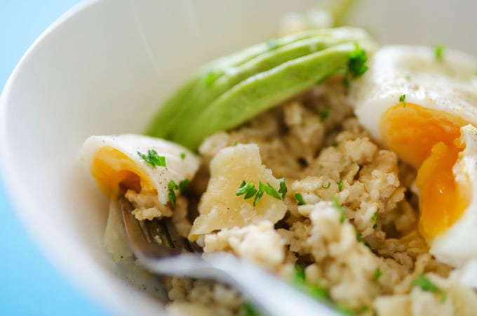 Savory Oatmeal with Avocado and Poached Egg