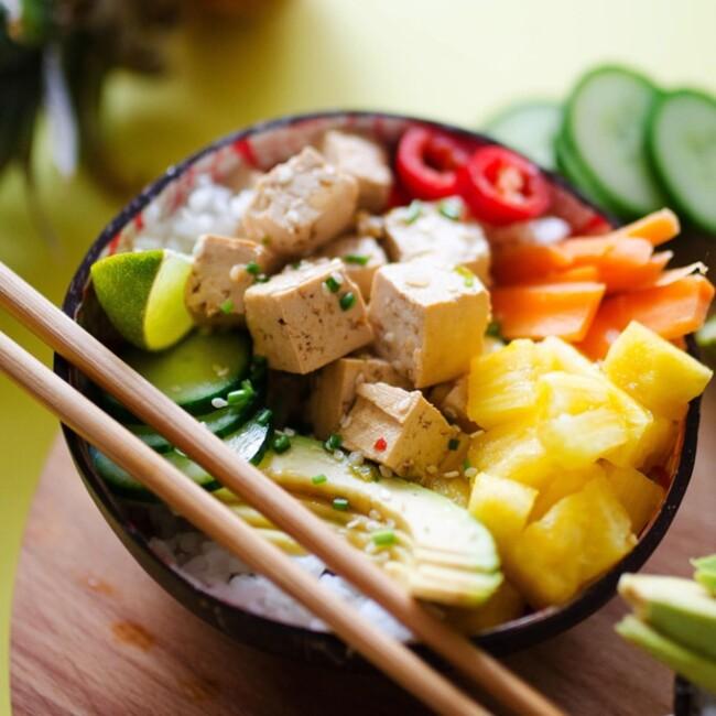 Vegetarian Pineapple Poke Bowls