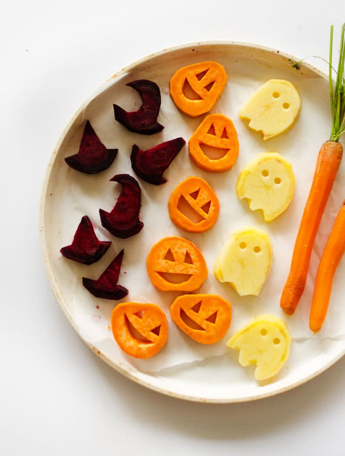 Vegetables shaped like spooky Halloween characters