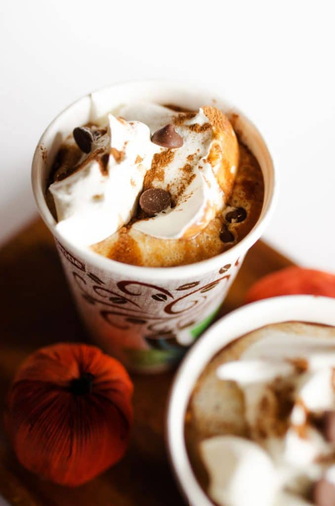 Pumpkin Gingerbread Hot Cocoa in a cup