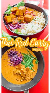Vegan Thai red curry in a bowl on a red background
