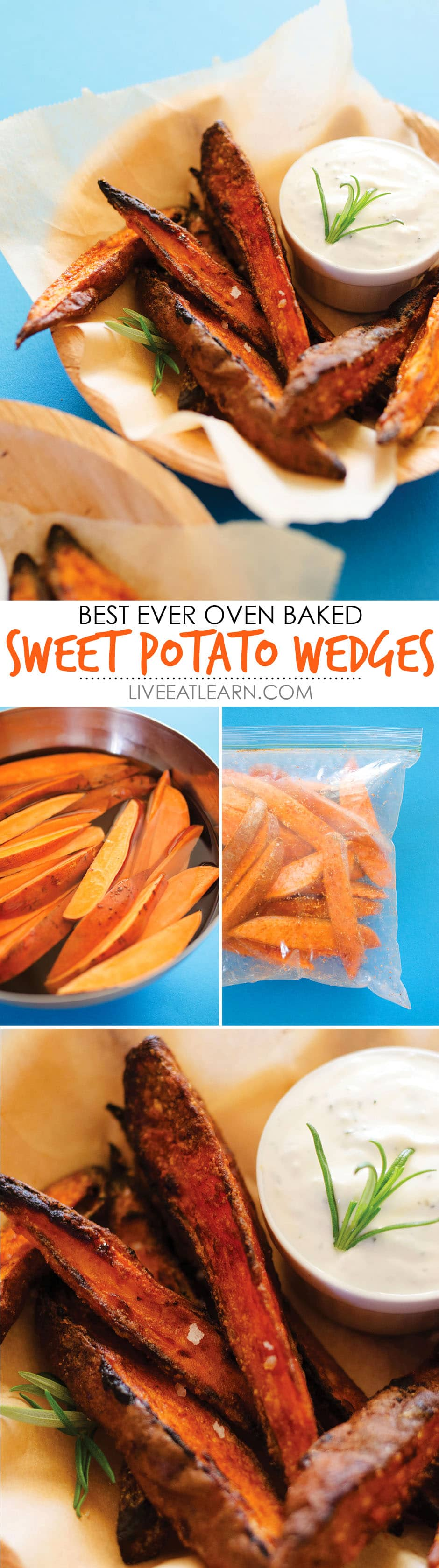 Sweet Potato Wedges with Roasted Garlic Sauce | Live Eat Learn Fried Potato Wedges Calorie