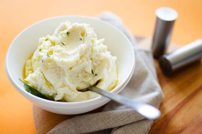 Brown Butter and Sage Fluffy Mashed Cauliflower