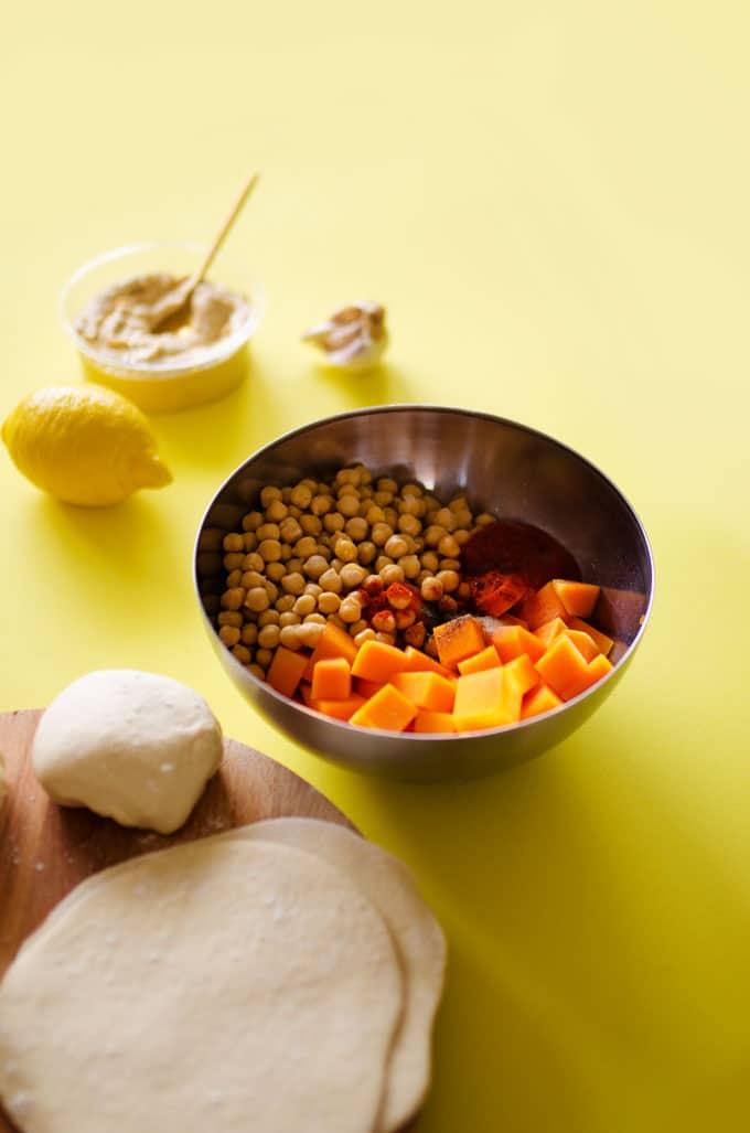 Roasted Butternut Chickpeas Hummus Wraps