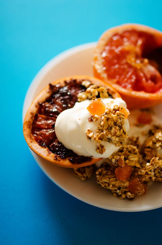 Grapefruit Brulee with simple 20 minute quinoa granola