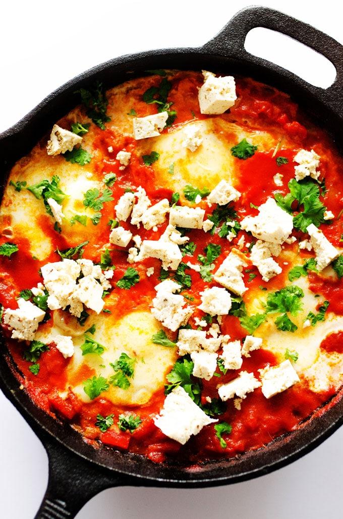 """This 1-dish shakshuka recipe is a traditional North African dish that's incredibly easy to make and packed with flavor (and topped with tofu """"feta""""!)"""