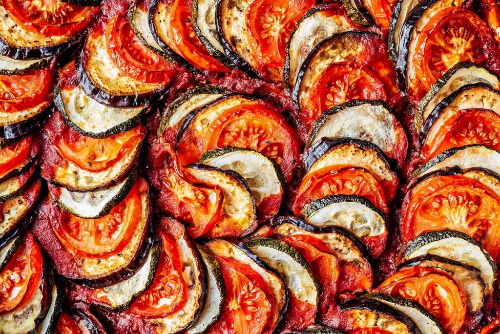 Layered roasted vegetables for a French tian