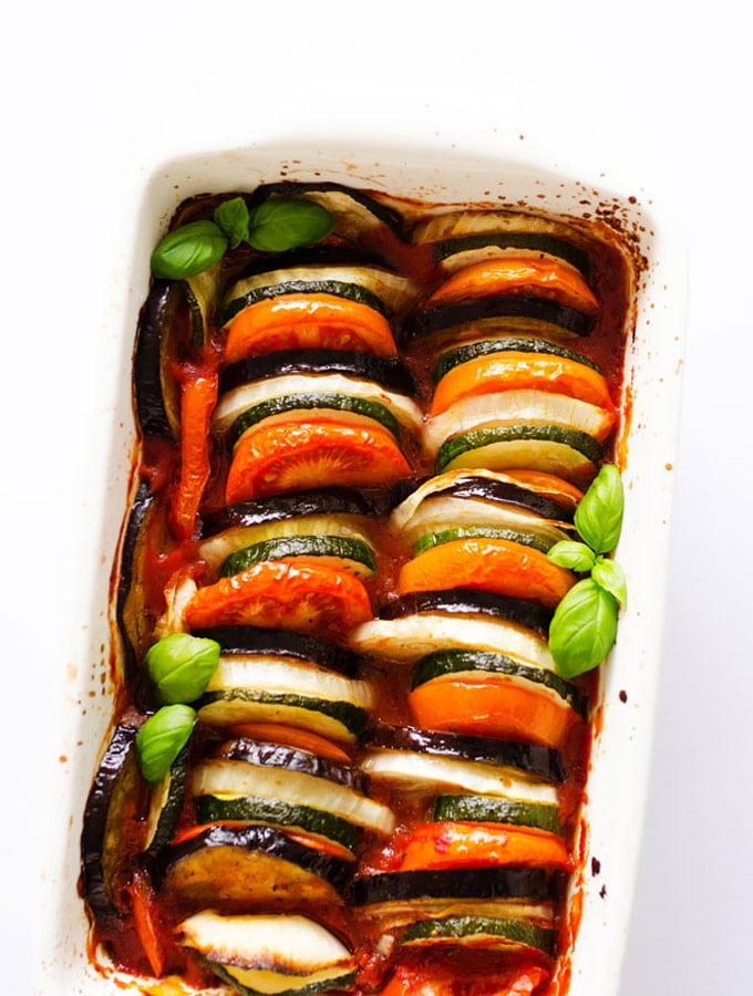 This 1 Pan Vegan Ratatouille, piled high with veggies and tomato, is an easy yet mouth-watering take on the French classic.