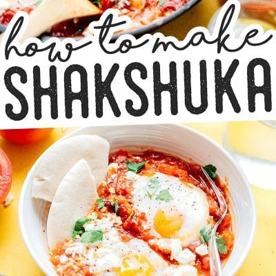 Shakshuka in a cast iron skillet on a yellow background