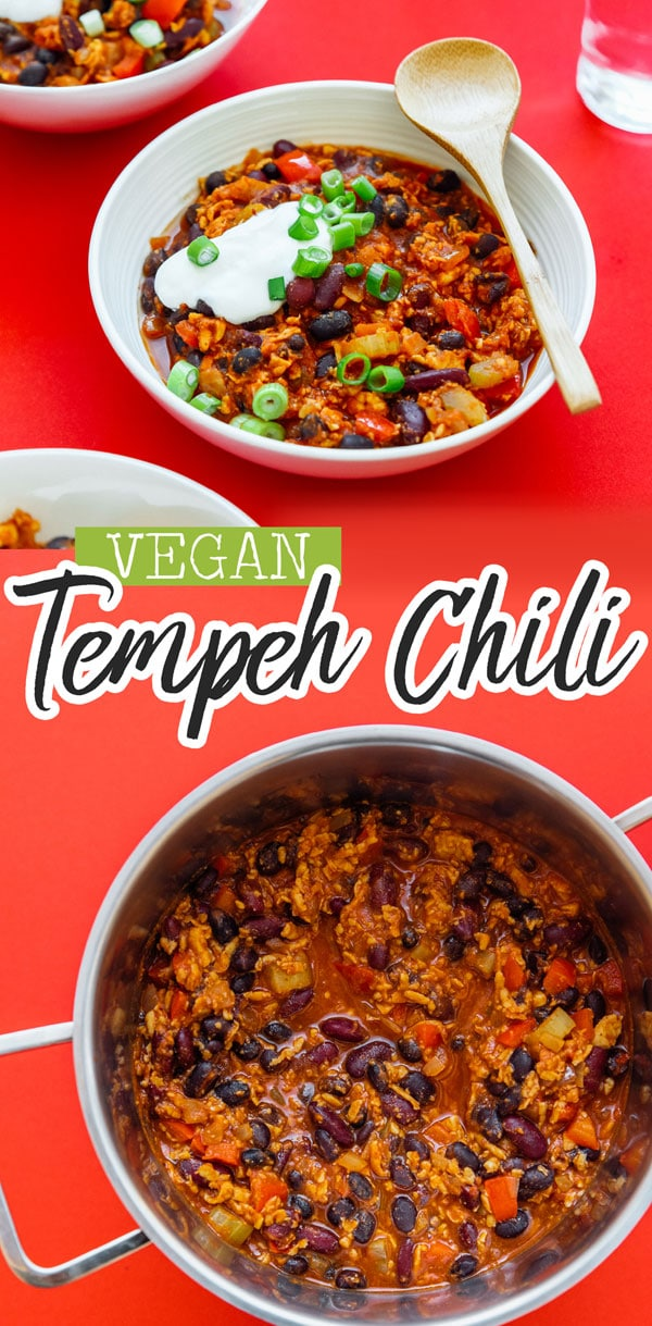 This healthy Vegan Tempeh Chili recipe will warm your bones with delicious plant-based protein this winter (and it's a meal in under 30 minutes!) It's packed with nutrients, fresh vegetables, and flavor that will make your whole family fall in love with this winter dinner recipe. #veganrecipes #chilirecipes #vegetarianrecipes #chili #tempeh #glutenfree #dinner #winterrecipes
