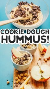 Chocolate chip cookie dough hummus in a cup