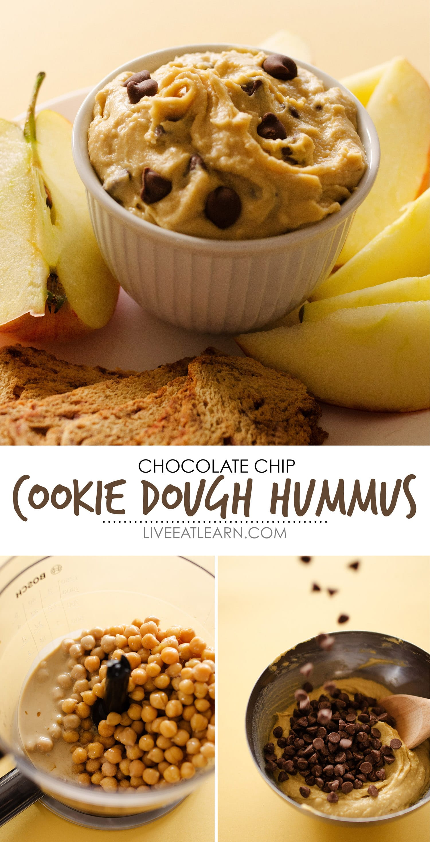 This Chocolate Chip Cookie Dough Dessert Hummus recipe is a fast, healthy, and gluten-free way to indulge in your cookie dough craving! Packed with chickpea protein and tahini, indulgent white chocolate, and sprinkled with chocolate chips, this is a gluten-free dessert or snack that is the perfect healthy sweet tooth remedy.