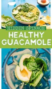Healthy guacamole in a bowl with spinach