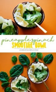These Pineapple Spinach Smoothie Bowls are a tropically delicious and healthy breakfast to kickstart your day (and with just 3 ingredients!)