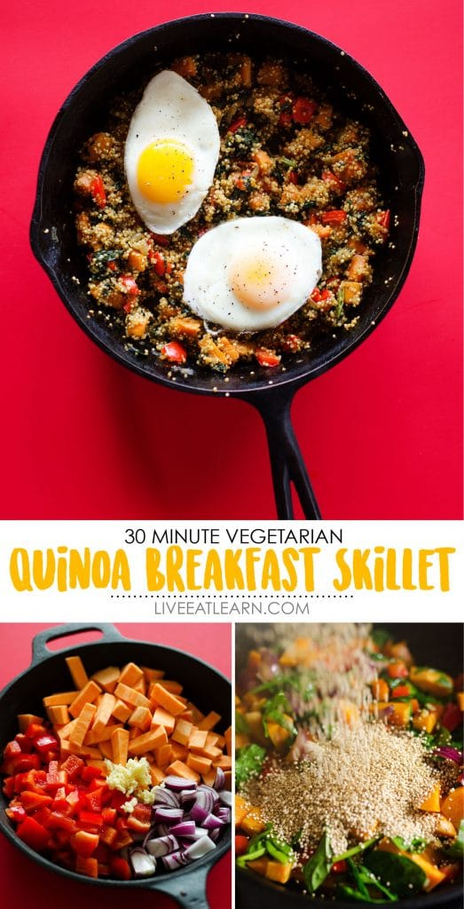 Sweet Potato and Spinach Quinoa Breakfast Skillet