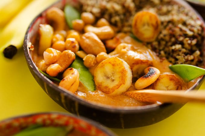 This Banana Thai Curry is a simple, healthy way to enjoy Thai curry with less fat and calories!