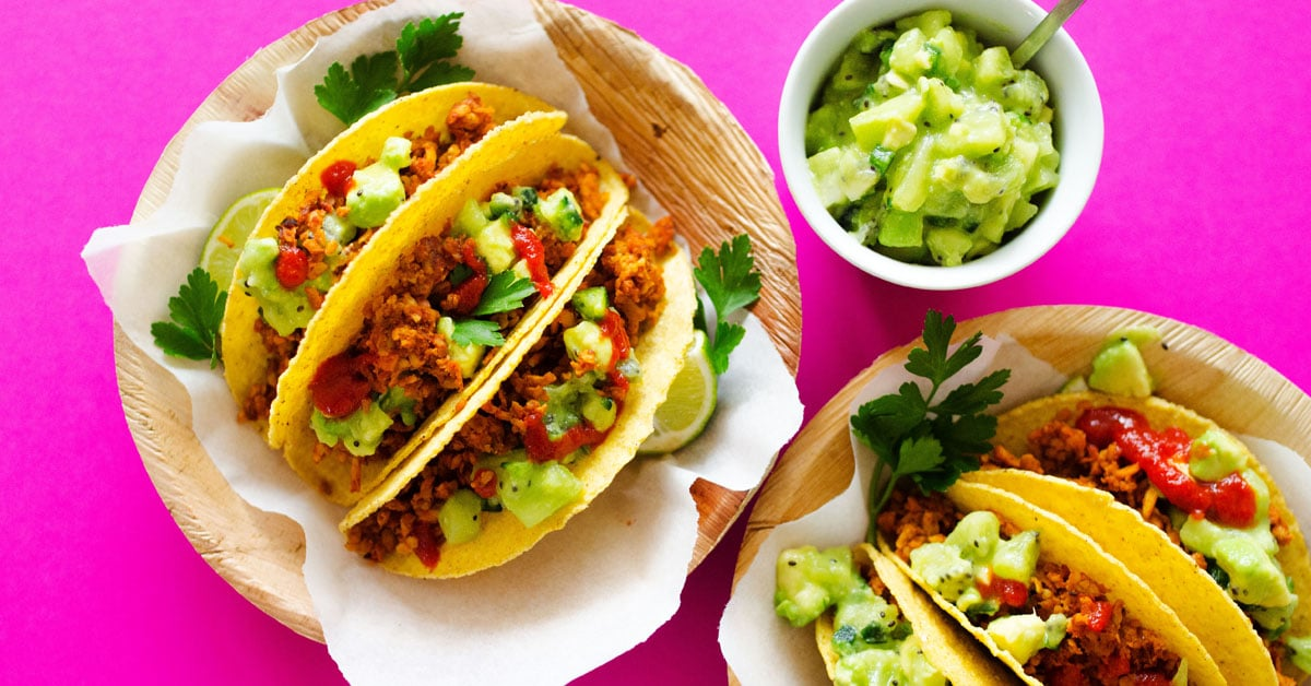Tempeh Tacos with Avocado Kiwi Salsa