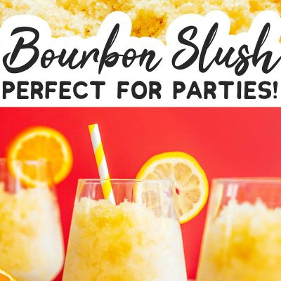 Bourbon slush in a glass with a straw on a red background