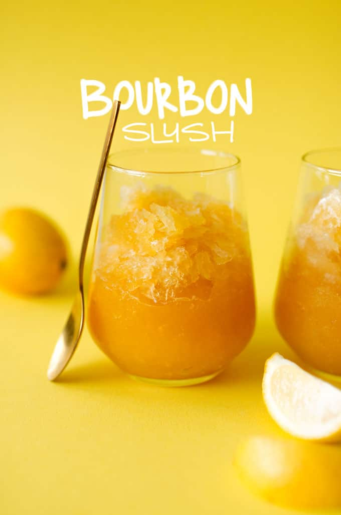 This Bourbon Slush Recipe comes together in just minutes. Mix it, freeze it, and forget it! Perfect for keeping on hand in case of impromptu parties and get togethers.