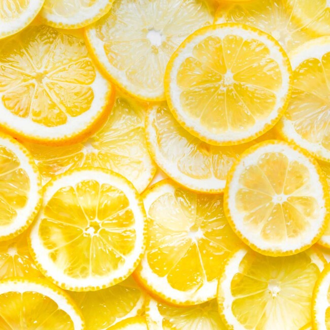 Close up of lemon slices