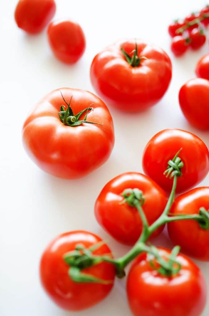 Beefsteak tomato variety on white background