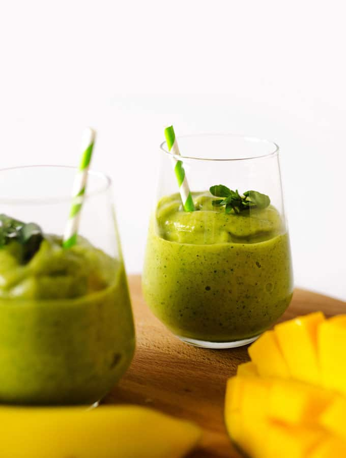 This Tropical Watercress Smoothie is packed with aromatic watercress, tropical fruit, and citrus!
