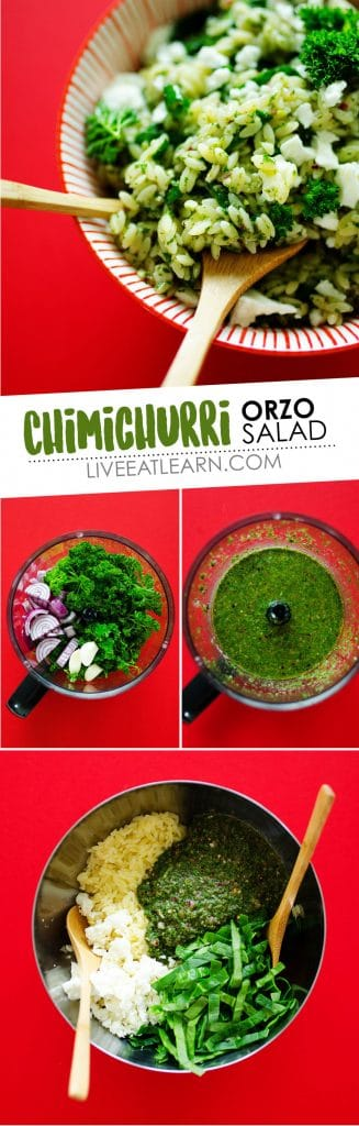 This Chimichurri Orzo Salad is tossed in a simple herby dressing that's loaded with veggies and sprinkled with feta cheese (and all in under 15 minutes!)