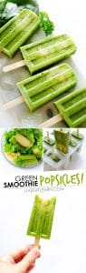 These healthy Green Smoothie Popsicles, with ginger, fruit, and spinach, are a fun and refreshing treat for summer.
