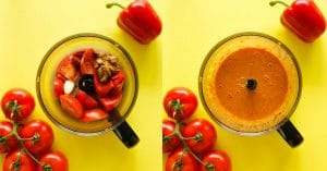 This Easy Romesco Sauce recipe is a fast blend of tomatoes, roasted red bell pepper, almond butter, and spices. Takes just 5 minutes and packed with flavor!