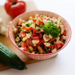 This Summer Vegetable Salad is a quick mix of tomato, cucumber, pepper, and feta!