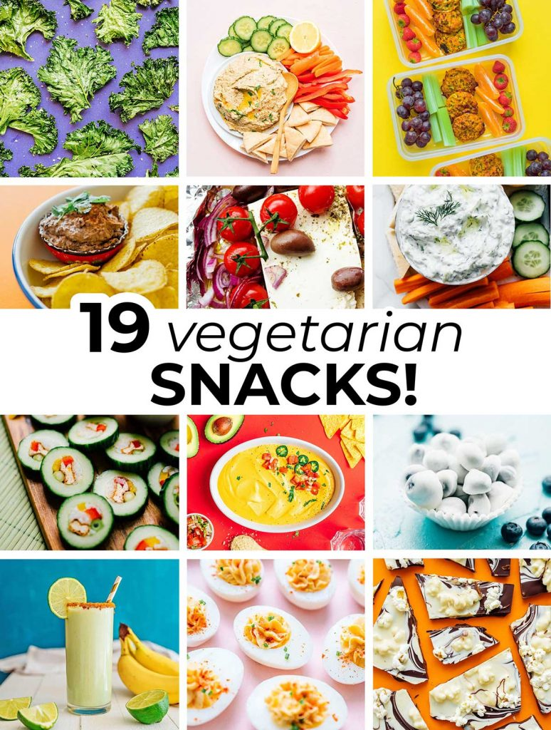 12 image collage including featured images from 12 different vegetarian snack recipes