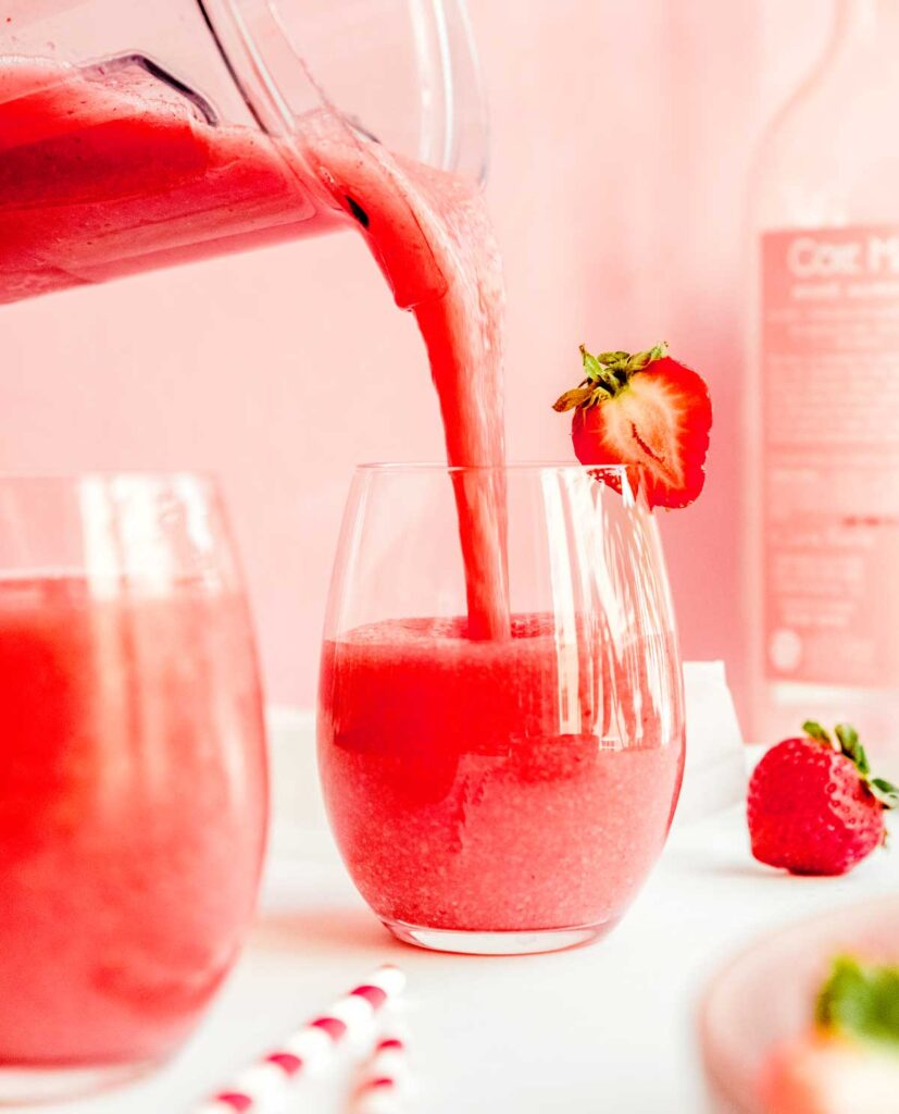 Pouring frozen rosé into a wine glass