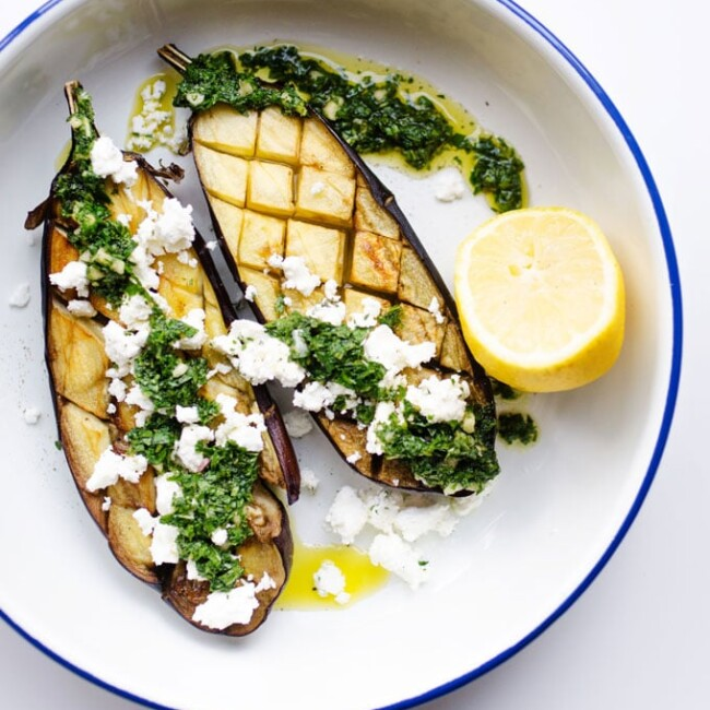 With fresh mint sauce and feta cheese, this roasted eggplant is a flavorful hands-off dish to make tonight!
