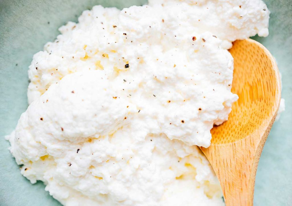 Closeup of ricotta cheese