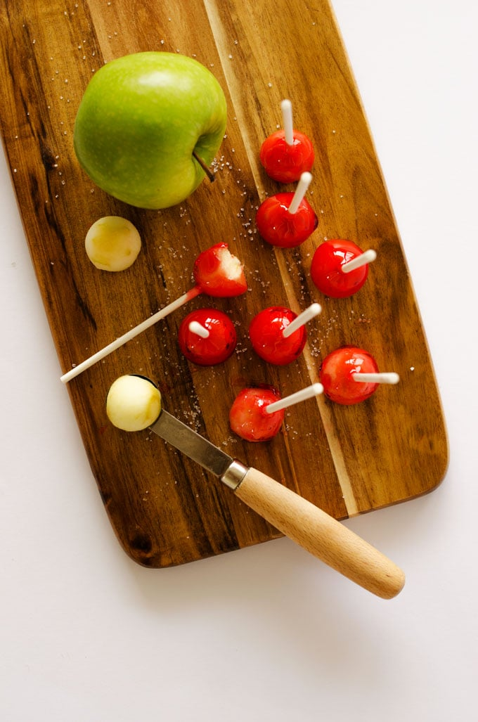 These Candy Apple Lollipops have a crunchy candy coating with crisp Granny Smith apple on the insides. They're a bite-sized treat that need to be on your menu this fall.