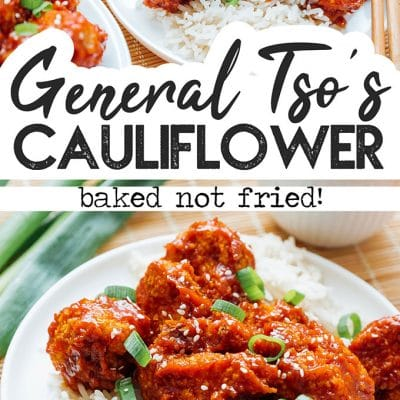 Baked General Tso's cauliflower on a plate with rice and green onions