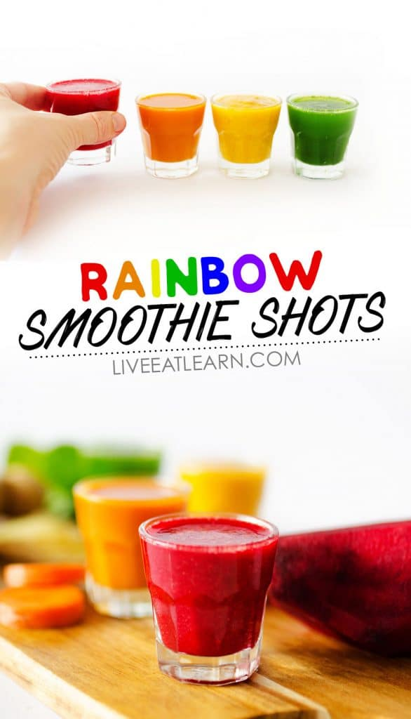 Need a health booster? These Rainbow Smoothie Shots come in four tasty flavors and are jam-packed with nutrients.
