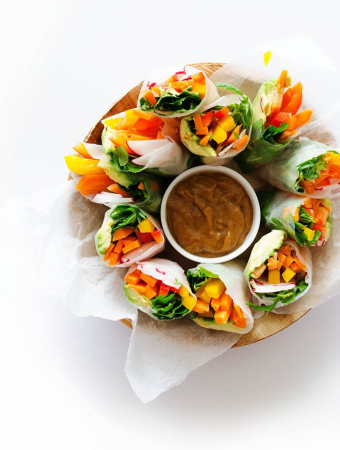"Craving something fresh and delicious (with a little ""wow factor"" thrown in)? These Vegan Rainbow Spring Rolls are as tasty as they are colorful!"