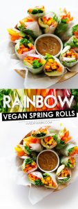 """Craving something fresh and delicious (with a little """"wow factor"""" thrown in)? These Vegan Rainbow Spring Rolls are as tasty as they are colorful!"""