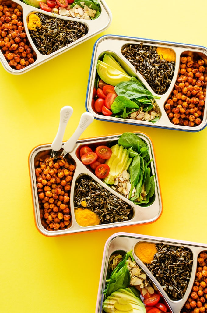 Vegetarian meal prep roasted chickpea bowls w carrot ginger dressing looking for a vegetarian meal prep recipe thats high in protein and so tasty that you forumfinder Choice Image